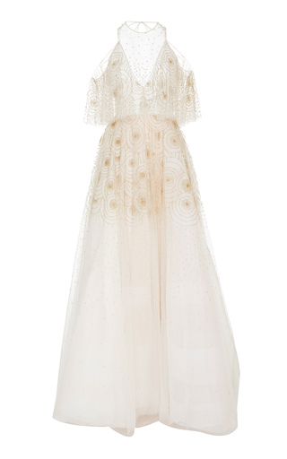 Medium bibhu mohapatra white flutter sleeve tule gown