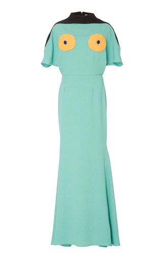 Medium edeline lee blue collage short sleeve gown