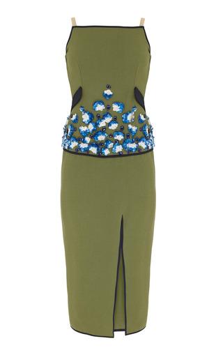 Medium razan alazzouni green embellished midi dress