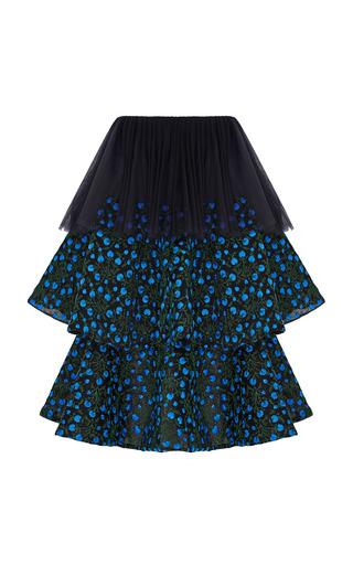 Medium razan alazzouni black embroidered tiered midi skirt