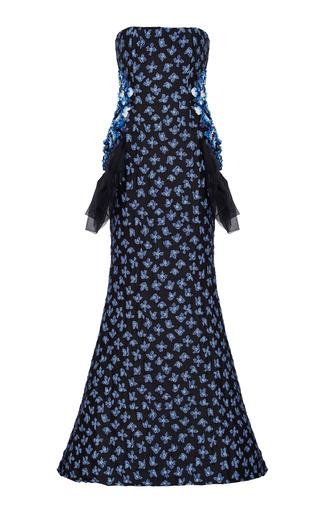 Medium razan alazzouni navy strapless embellished gown