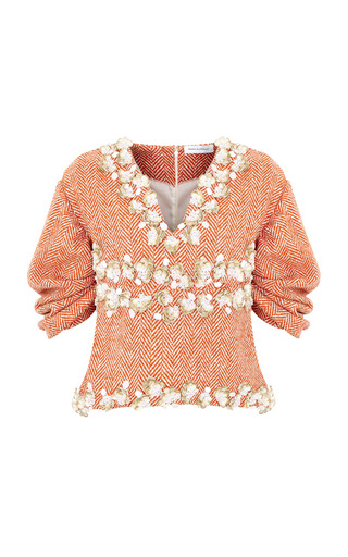 Medium razan alazzouni orange embellished tweed top