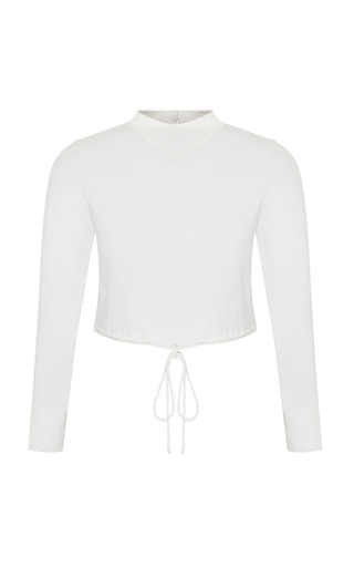 Medium razan alazzouni white silk drawstring crop top