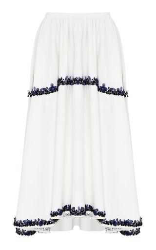 Medium razan alazzouni white silk beaded midi skirt