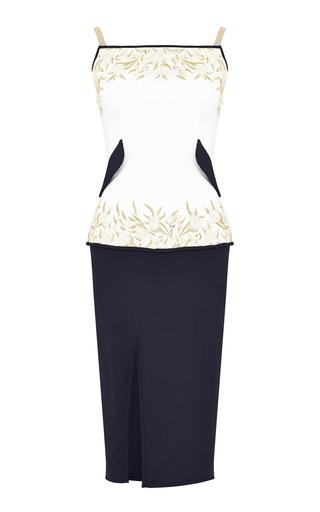 Medium razan alazzouni white two tone embellished midi dress