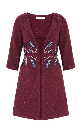 Medium razan alazzouni burgundy leaf embellished coat
