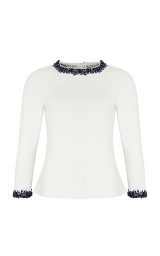Medium razan alazzouni white embellished silk top
