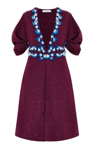 Medium razan alazzouni burgundy embellished wool boxy coat