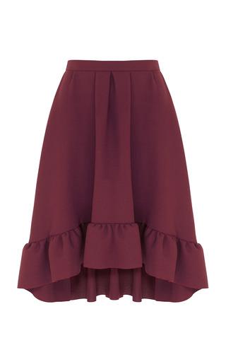 Medium razan alazzouni burgundy ruffled hem skirt