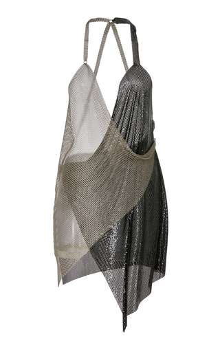Medium fannie schiavoni silver draped metal mesh dress