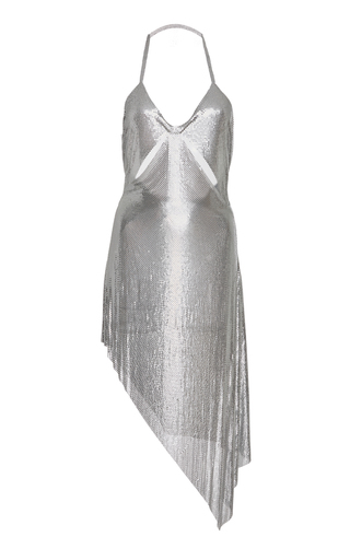 Medium fannie schiavoni silver cutout metal mesh dress
