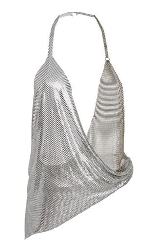 Medium fannie schiavoni silver draped metal mesh top
