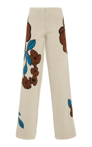 Medium phisique du role white floral jacquard knit trousers