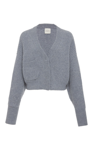 Medium le kasha grey monaco cropped ribbed cardigan