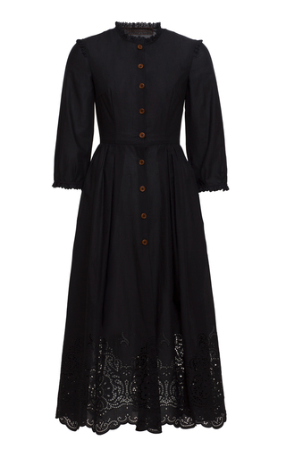 Medium ulyana sergeenko demi couture black eyelet a line dress
