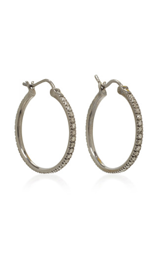 Medium sydney evan silver medium diamond hoops