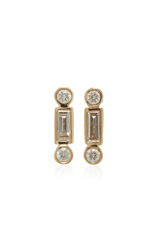 Medium sydney evan gold baguette and round bezel studs