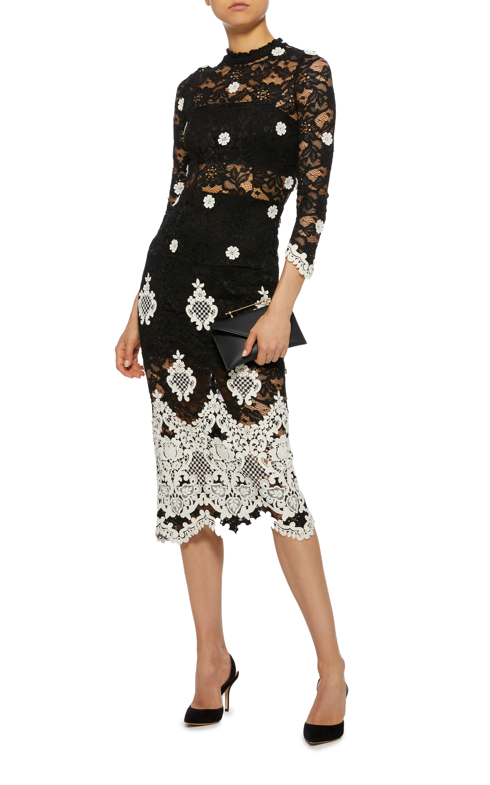 Betsy & Adam Embroidered Lace Dress
