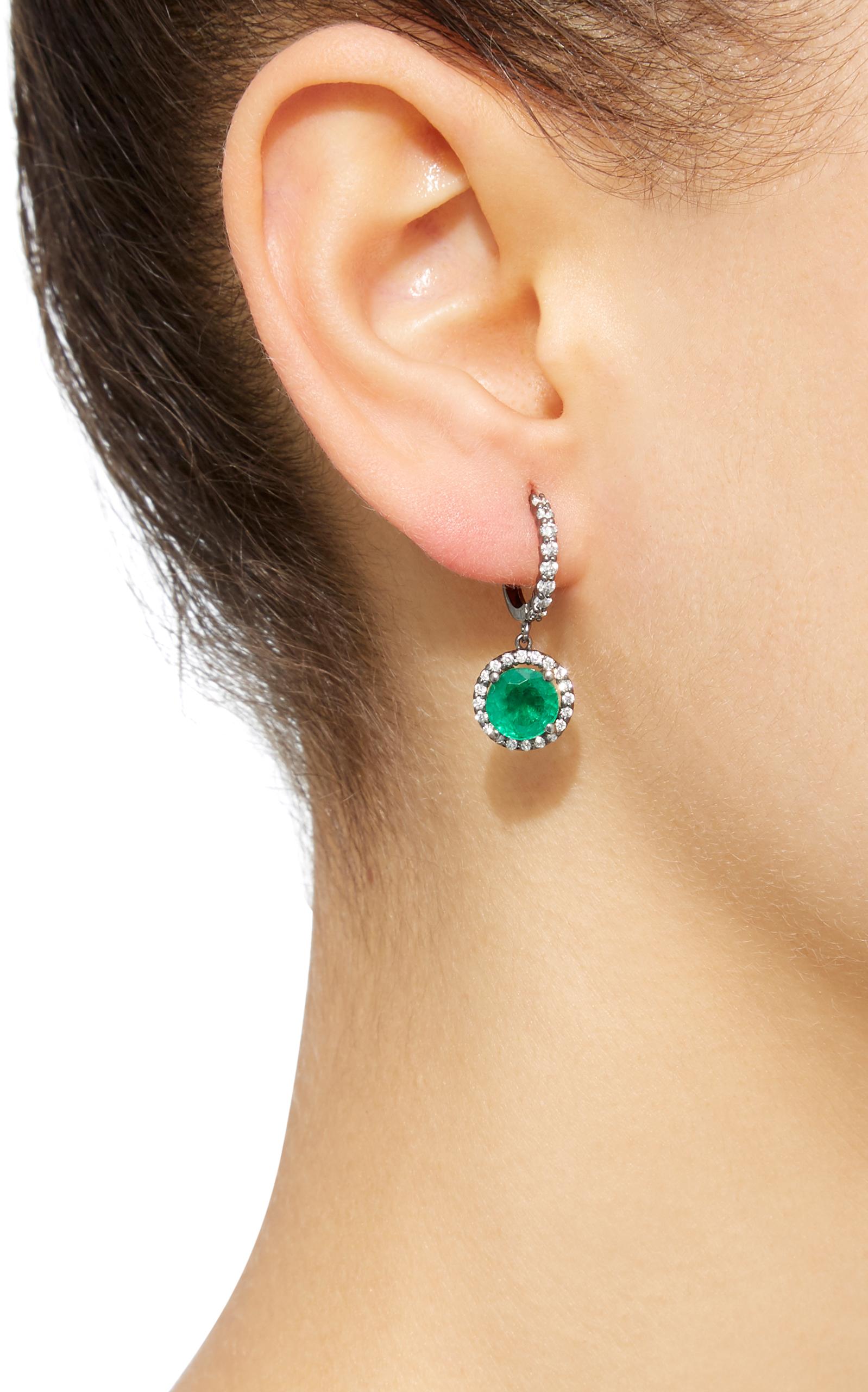 Planet 18k White Gold Diamond And Emerald Earrings