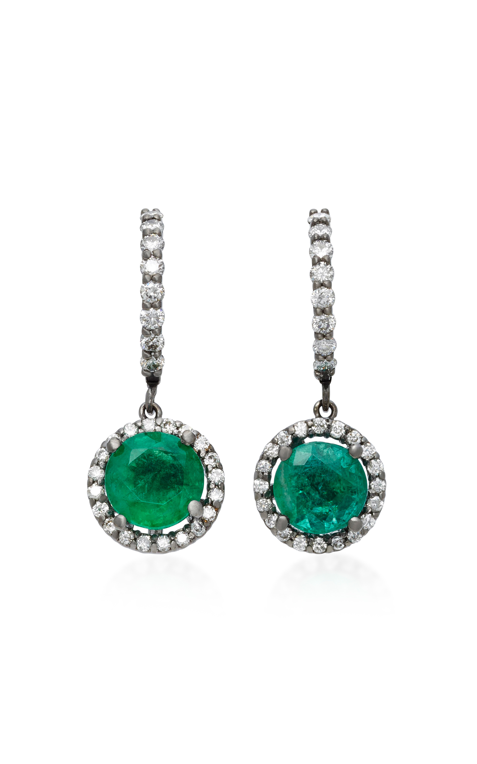 COLETTE JEWELRY PLANET 18K WHITE GOLD DIAMOND AND EMERALD EARRINGS