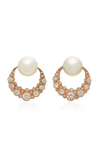Baby Moon 18k Rose Gold Diamond And Pearl Earrings By