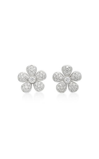 Diamond White Usa >> Small Flower 18K White Gold Diamond Earrings by | Moda ...