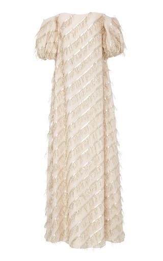 Medium markarian neutral marie fringe gown