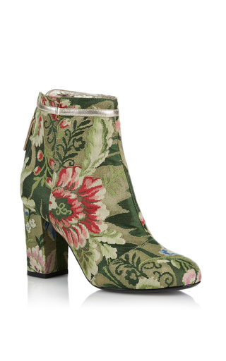 Medium rubeus milano green lampasso brocade ankle boot