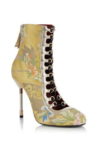 Medium rubeus milano yellow lace up brocade ankle boot