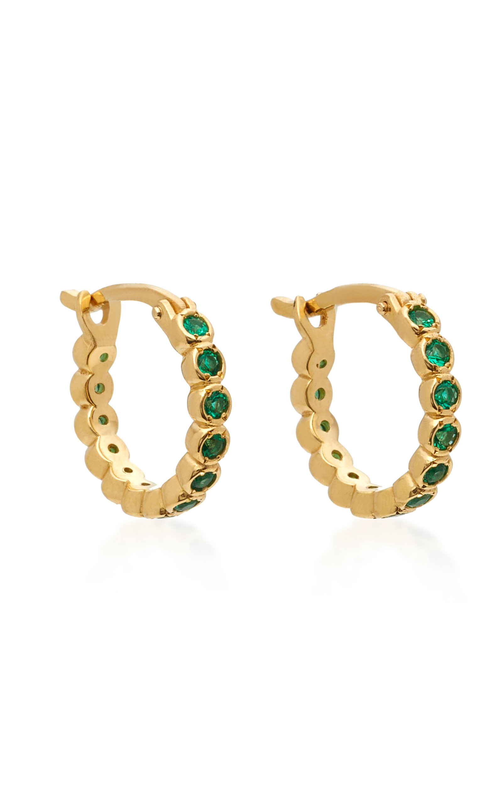 47d546950 Octavia Elizabeth Chloe 18K Gold Emerald Hoop Earrings | £1,728.00 | Port