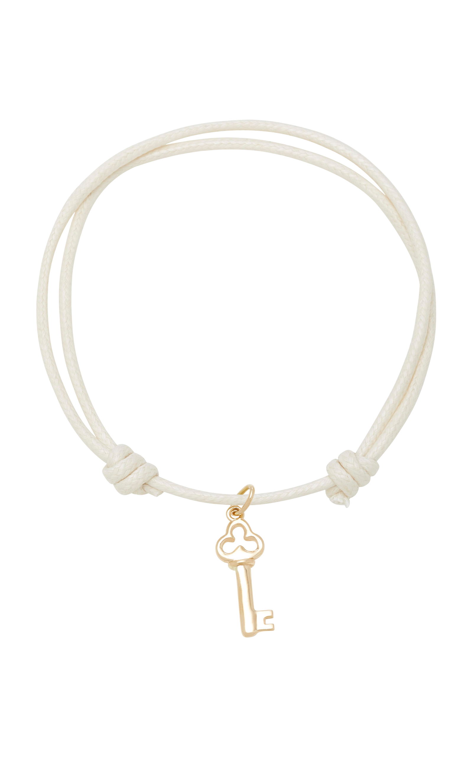 WITH LOVE DARLING KEY TO MY HEART 18K GOLD CORD BRACELET
