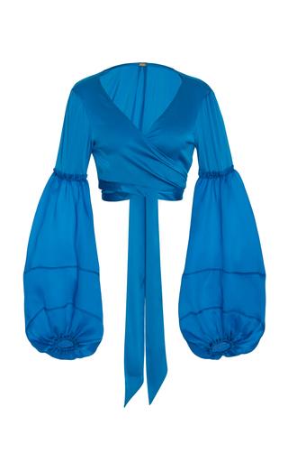 Medium cult gaia blue wrap front poet blouse