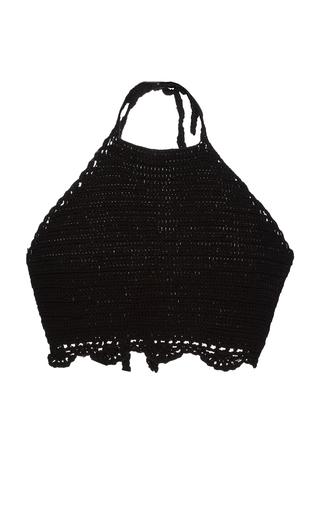 Medium duo de mar black black caracol crochet crop top