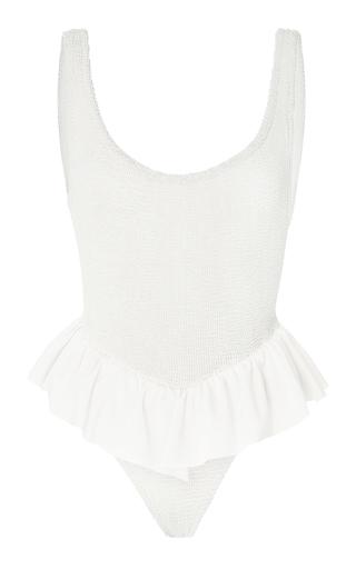 Medium hunza g white denise ruffle one piece swimsuit