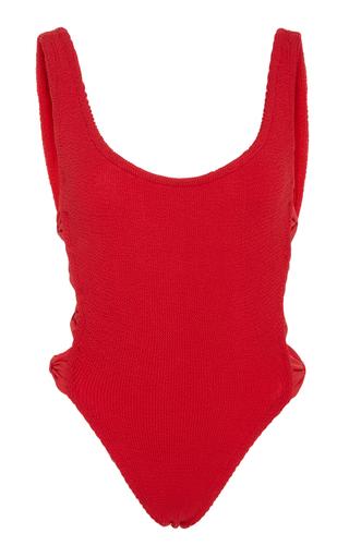 Medium hunza g red greta bow cutout one piece swimsuit