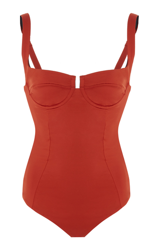Medium reina olga red bardot underwire one piece swimsuit
