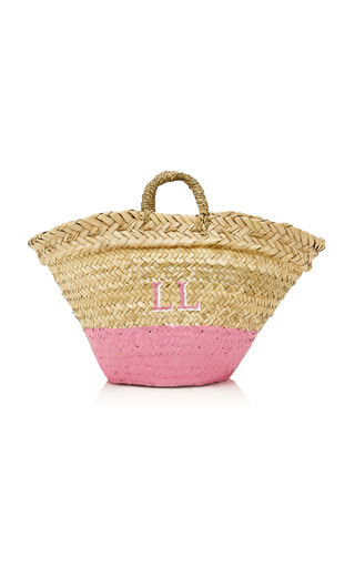Medium rae feather pink m onogram dip dye basket