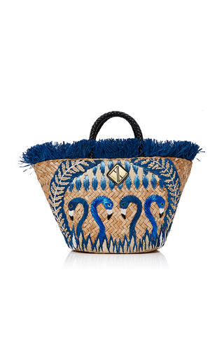Medium aranaz multi blue flamingo tote