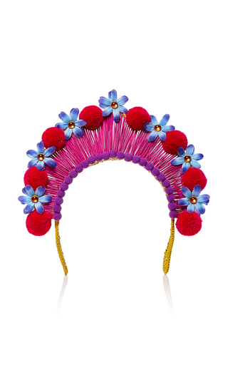 Medium magnetic midnight red pompom crown