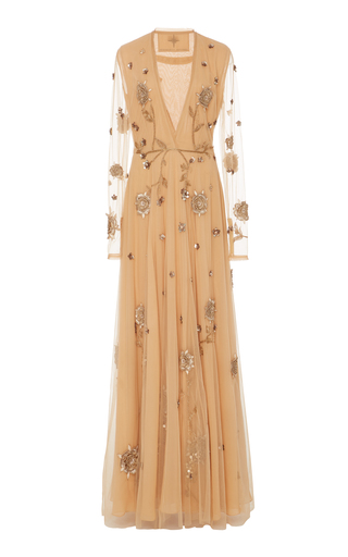 Medium cucculelli shaheen neutral birds and honey embroidered gown