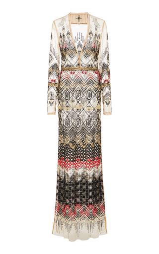 Medium cucculelli shaheen print animistic embroidered gown