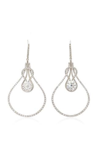 Medium martin katz white round brilliant diamond knot earrings