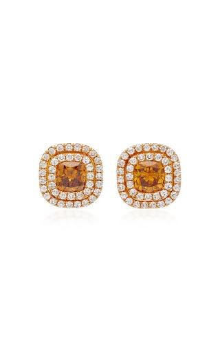 Medium martin katz orange double floating target button earrings
