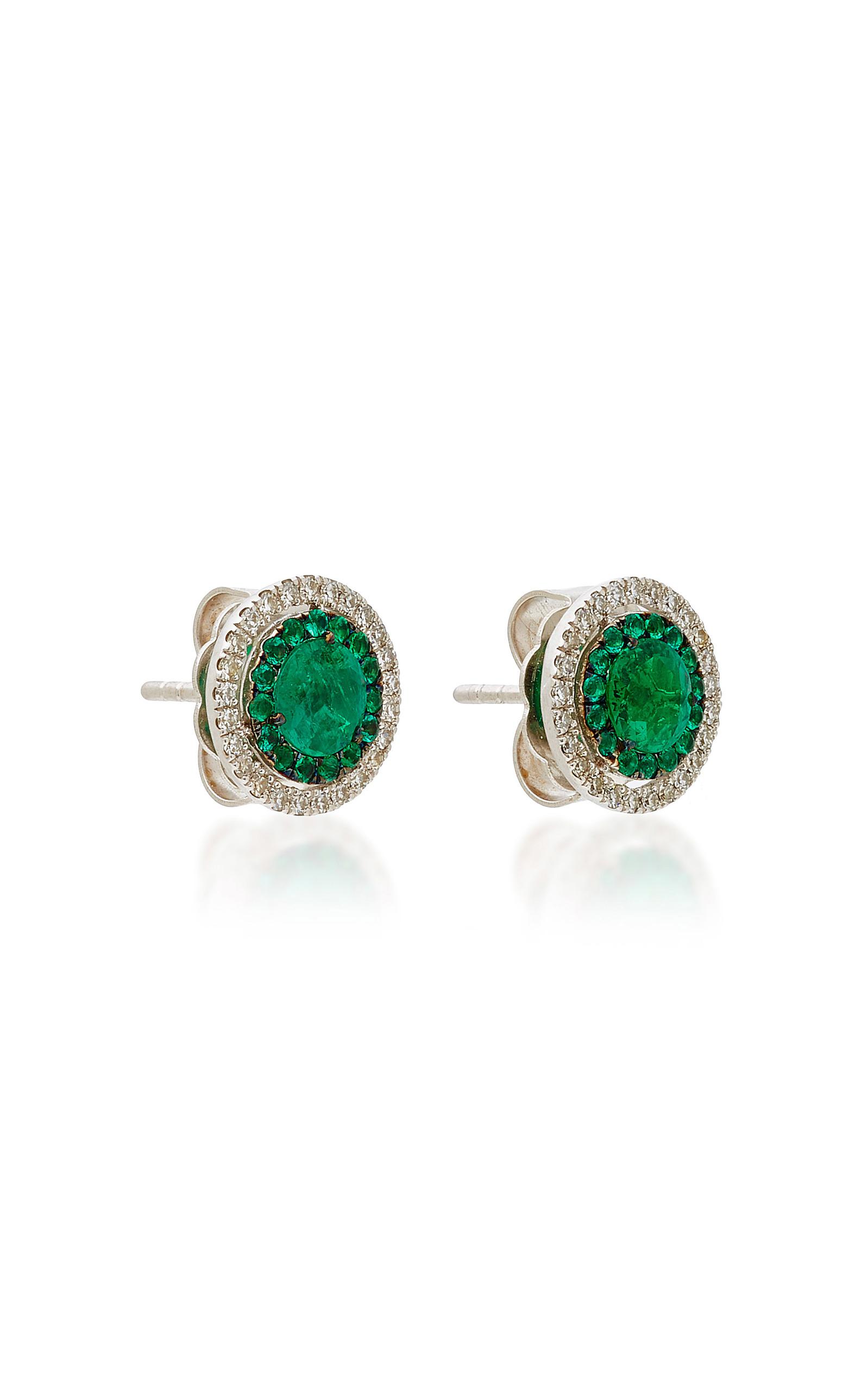 Emerald & Diamond Target Stud Earrings