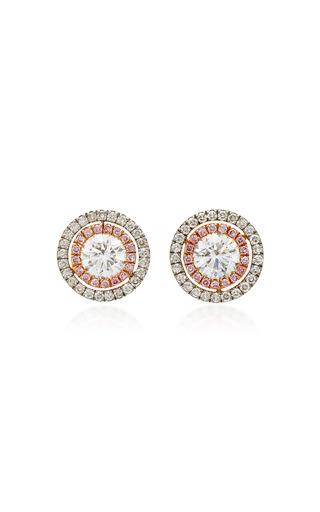 Medium martin katz white diamond target button earrings