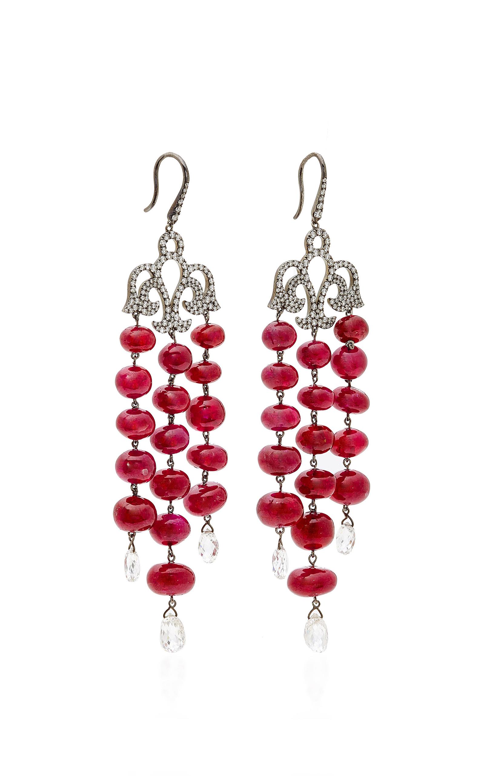 Moda operandi ruby and diamond chandelier earrings by martin katz loading arubaitofo Gallery