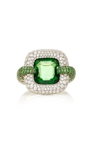 Medium martin katz green cushion shape natural vivid green tsavorite garnet ring