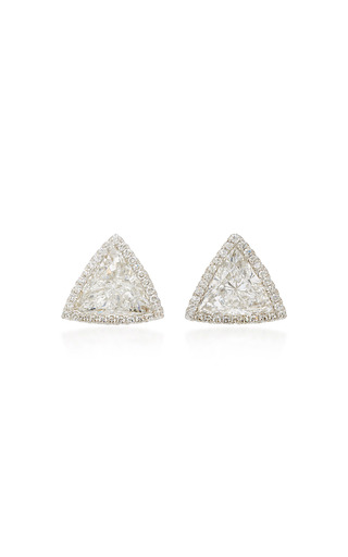 Medium martin katz white trillion diamond toby stud earrings