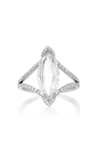 Medium martin katz white octagonal marquise rose cut diamond ring