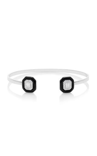 Medium nikos koulis black oui bracelet with emerald cut white diamonds pave white diamonds and black enamel